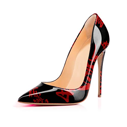 Women's High Heels Party Wedding Pumps Red Characters Tattoo Printing Slip on Shoes US 9.5