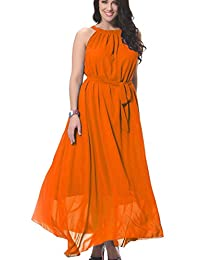 Greenis Women Dress Bohemia Beach Dress Long Chiffon Plus Size Belt