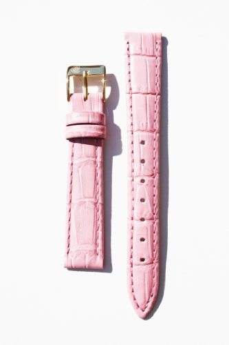 14mm-classic-pink-genuine-alligator-grain-leather-watchband-with-nubuck-lining-and-gold-plated-buckl