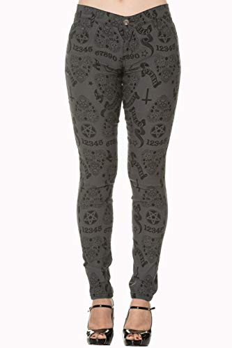 Moonlight Apparel - Banned Apparel Moonlight Silence Planchettes Kitty Moon Gray Skinny Jeans (XS)