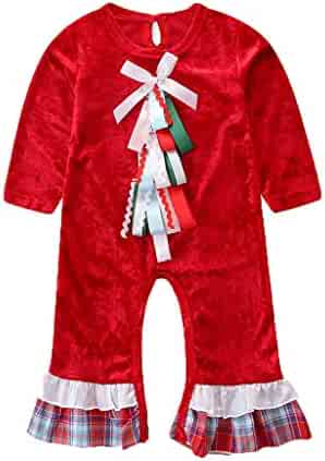 DIGOOD for 0-4 Years Old Kids Baby Girls Boys Santa Claus Tops+Striped Pants 2Pcs Outfits