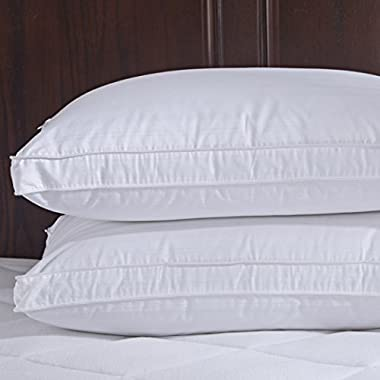 Puredown 600 Fill Power Goose Down Gusset Pillow, With 2 Free Pillow Protectors, 100% Cotton Fabric, Standard/Queen Size, White, Set of 2