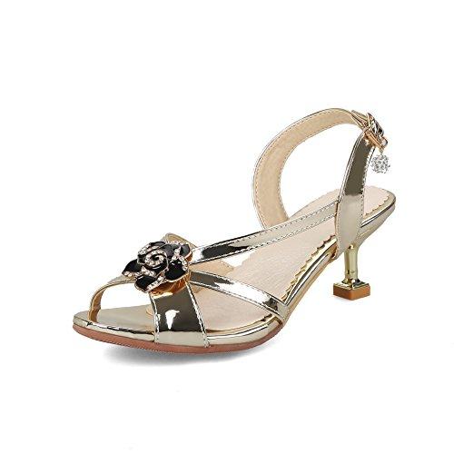 Sandales Fin Toe Femmes Chaussures Romain Format Rhinestone Talons avec Open Grand Hauts Golden 0dS6n6qR