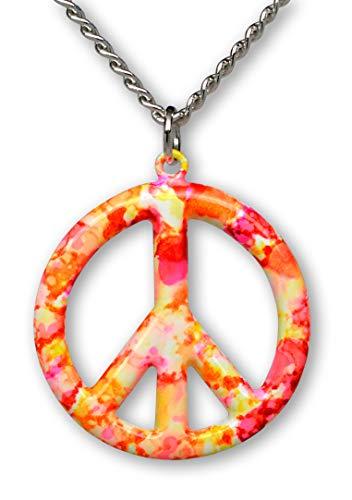 Real Metal Orange Pink Hippie Tie Dye Peace Sign Enamel on Pewter Pendant Necklace (Medium)