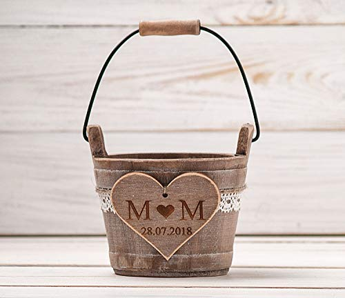 Small Flower Girl Basket, Rustic Wedding Basket for Petals, Ring Bearer, Country Wedding Ceremony, Wood Bucket, Bridal ()