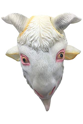 CosSail Novelty Animal Mask Goat Sheep Latex Mask Halloween Costume Full Head Mask White]()