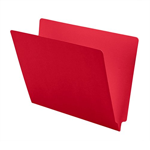 Red End Tab Folder (11 pt Color Folders, Full Cut 2-Ply End Tab, Letter Size, Red (Box of 100))
