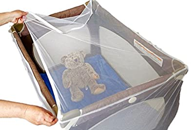 Baby Playpen Mosquito Net With Zippers, Premium Quality by Tedderfield, for Pack 'n Play Playpens + Strollers, Easy Zip Access to Baby, Drawstring Base, Portable Netting Keeps Away Mosquitoes, Insects