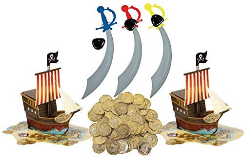 Pirate Ship Map Birthday Party Supplies Pop up Centerpiece Plus 50 Gold Coins Decorations Pack (Plus 12 ct Swords and Eye Packs, Multi)