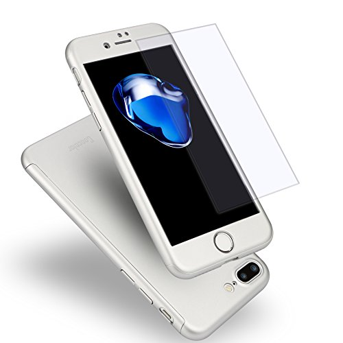 360 Degree Hard Plastic Case for iPhone 7 Plus (Silver) - 3