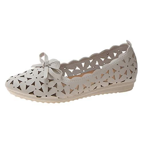 (Women Fashion Ballet Flats Floral Cutout Ballerina Shoes Perforated Slip On Flat Princess Shoes by Lowprofile)