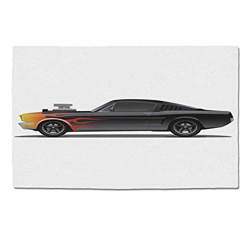 YOLIYANA Cars Durable Door Mat,Custom Design Muscle Car with Supercharger and Flames Roadster Retro Styled Decorative for Home Office,One Size