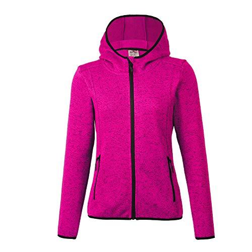 (BELE ROY Women Knit Jacket Active Outdoor Full-Zip Coat Fleece Lined(Pink XXXL))