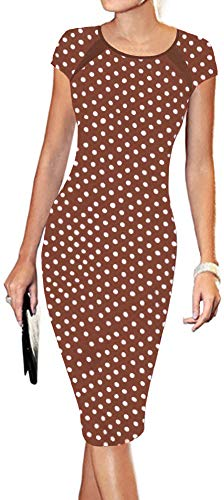 LunaJany Women's Polka Dot Print Sexy Wear to Work Office Career Sheath Midi Dress S Brown Polka dot