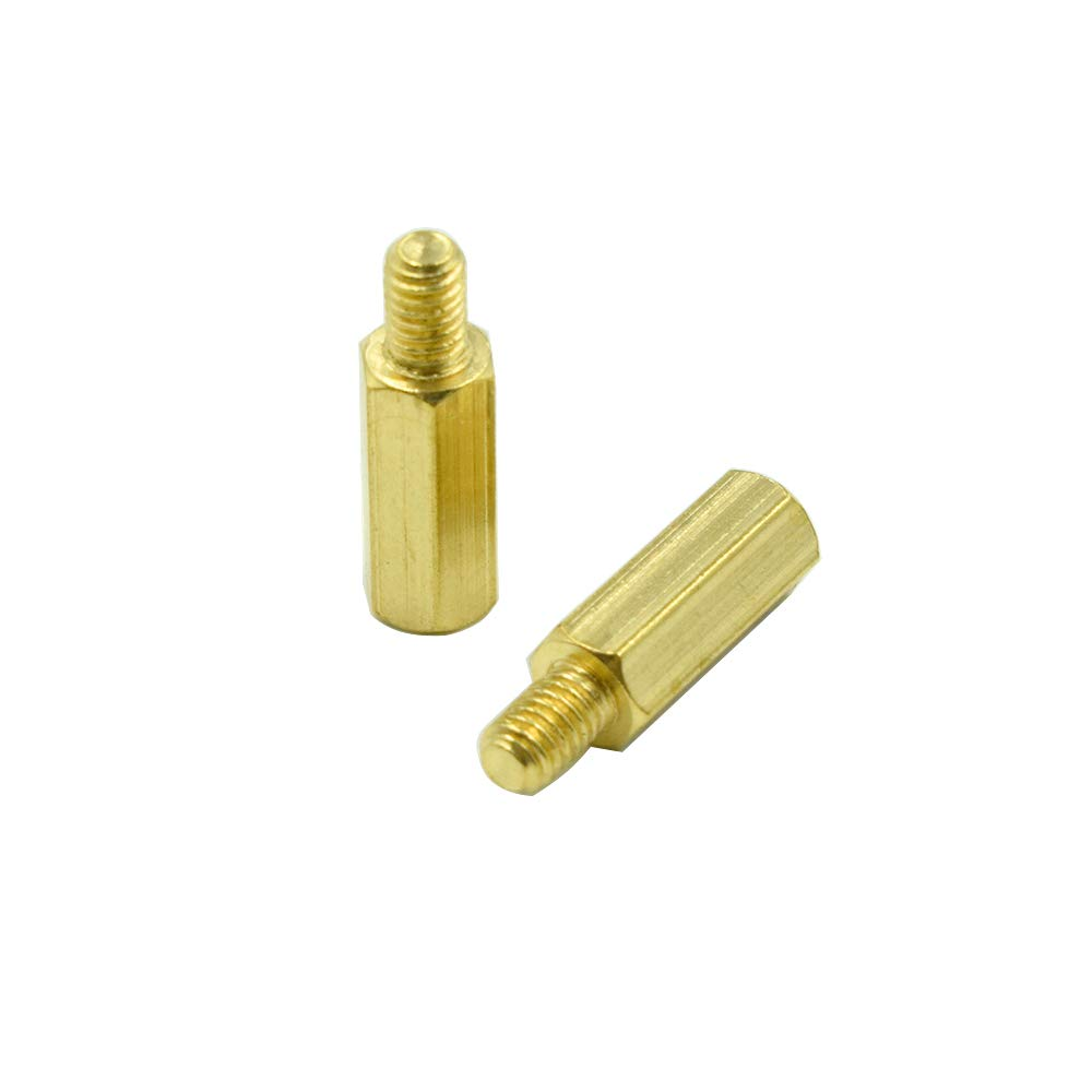 6mm Male to Female Thread Brass Hexagon Hex Standoff Spacer Pillars HONJIE M4 x 15mm 30 Pcs