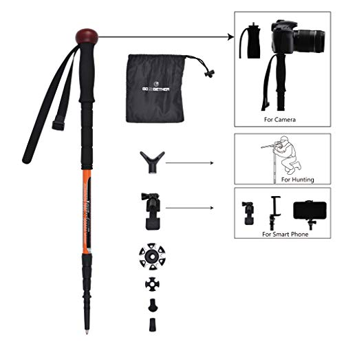 G2 GO2GETHER Trekking Pole Telescopic Walking Stick Hunting Integrated Camera Mount/Smart Phones Holder/Shooting Support Attached / 4 Sections/Rotating Lock / 25-61 inches (1 Pole Pack) by G2 GO2GETHER