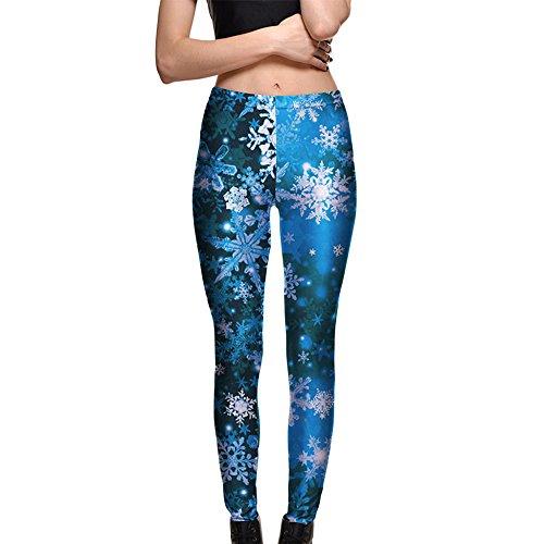 Les Pantalons De Yoga Des Femmes Leggings Minces Minces Impression De Flocons De Neige Leggings Respirants De Confort Pour La Danse De Forme Physique