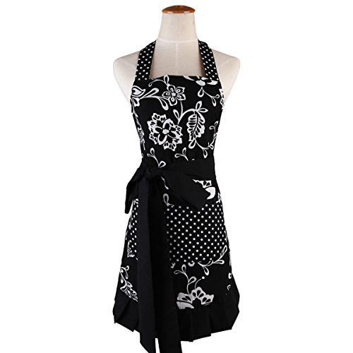 Monkeysell Aprons Women's Original Strap type Cotton printing Anti-fouling and oil Apron (Black and white flowers W007A5)