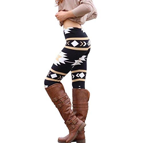 Febecool Women Fashion Geometric Printed Skinny Stretchy Leggings Slim Pants