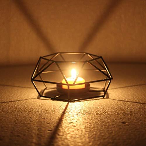 Maikouhai Nordic Metal Geometric Hanging Creative Gift Night Table Lantern Candle Holder Candlestick Light Home Decor Lamp, Black -