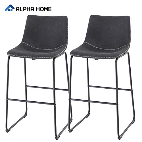 ALPHA HOME Bar Stools Vintage Leathaire Bar Height Stools Pub Kitchen Chairs, Dining Room Furniture - 350 lbs Capacity (Black)