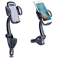 Car Mount Charger Phone Holder, LinkStyle Car Cell Phone Holder Cradle Goose Neck with Dual USB 3.1A Car Charger for iPhone 7 7 Plus 6 6S 6S Plus Samsung Galaxy S8 S7 S7 Edge, Motorola, Sony, HTC