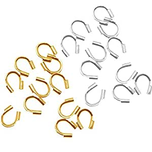 HYBEADS 250pcs Silver And 250pcs Gold Wire Protector Wire Guard Guardian Protectors Loops U Shape Accessories for Jewelry
