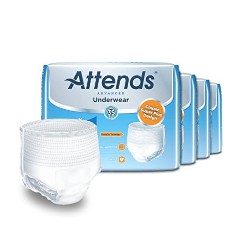 Attends Advanced Protective Underwear with Advanced DermaDry Technology for Adult Incontinence Care, Large, Unisex ,  18 Count (Pack of 4) Attends Adult Diapers