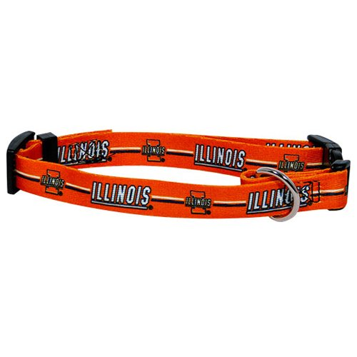 NCAA Illinois Illini Adjustable Pet Collar, Team Color, Small