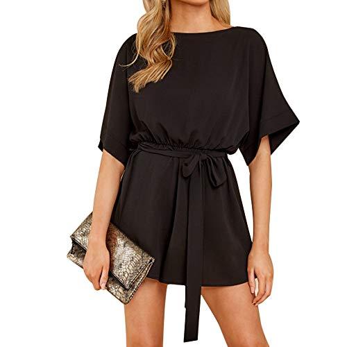 - Joteisy Women's Casual O-Neck Tie Waist Short Dolman Sleeves Romper (XL, Black)