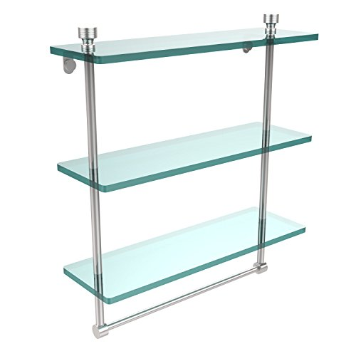 Glass Allied Shelf Brass Triple - Allied Brass FT-5/16TB-PC Foxtrot Collection 16 Inch Triple Tiered Glass Shelf with Integrated Towel Bar Polished Chrome