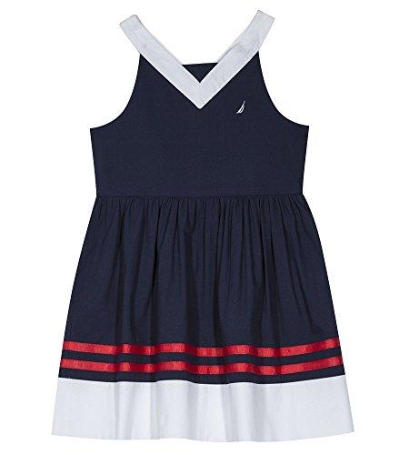 Nautica Girls' Big Spaghetti Strap Fashion Dress, v/Navy, Large (12/14) (Nautica Brillen)