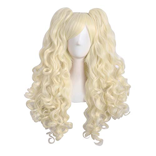 "MapofBeauty 28""/70cm Lolita Long Curly Clip on Ponytails Cosplay Wig (Light Blonde)"