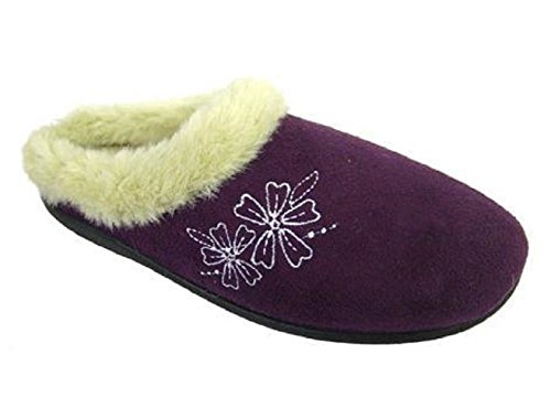 OCTAVE® Ladies Micro Suede Mule With Embroidery Pink izESckoTBR