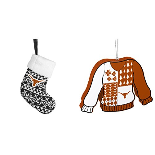 NCAA Texas Longhorns ORNAMENT STOCKING KNIT Foam Ugly Sweater Christmas Ornament Bundle 2 Pack By Forever (Champions Christmas Stocking)