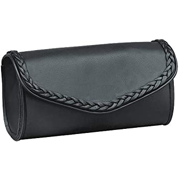 Motorcycle Windshield Bag with Braiding and Strong Closure Classic Black Premium PVC Synthetic Leather 10 Reinforced