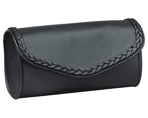 Motorcycle Windshield Bag with Braiding and Strong Closure - Classic Black Premium PVC Synthetic Leather - 10