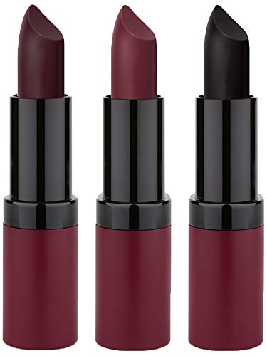 GR Cosmetics Velvet Matte Lipstick 3 Piece Dark Set, Enriched With Vitamin E -