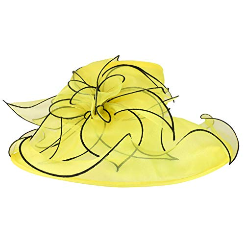 Trendy Apparel Shop Two Tone Large Ruffles Brim Tea Party Fashion Organza Hat - Yellow