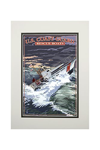 U.S. Coast Guard - 44 Foot Motor Life Boat (11x14 Double-Matted Art Print, Wall Decor Ready to Frame)