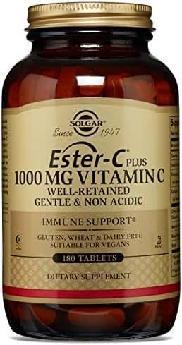 Solgar - Ester-C Plus Vitamin C (Ester-C Ascorbate Complex) 1000 mg, 180 Tablets - 2 Pack