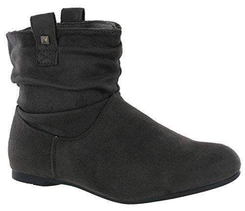 Shoeshoebedo Fashion Ankle Pull On Flat Casual Pixie Style Boots Warm Lined Womens UK 3-8 Grey