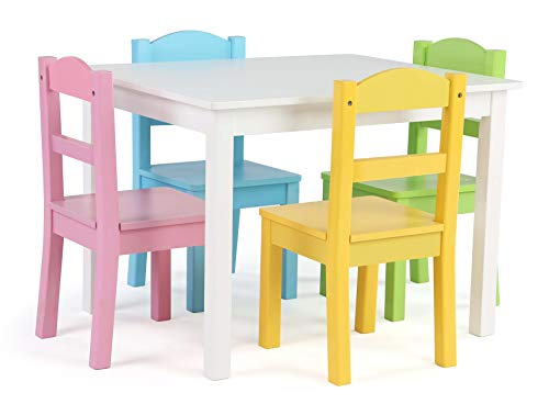 Tot Tutors Wood Table & 4 Chair Set, White/Pastel (Table Nantucket Kitchen)