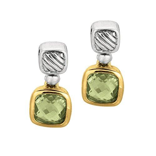 (Phillip Gabriel 18k Gold And Sterling Silver Green Amethyst Drop Earrings)