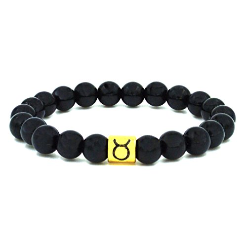 Hypnotique Gold-tone Zodiac Sign Black Agate Beaded Bracelet (Taurus) (Ancient Greek Outfits)