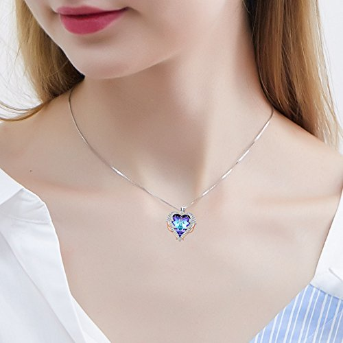 ANCREU Angel Wing Necklaces for Women Love Heart Pendant Necklace Gifts for Women Girls (C_Purple Heart) by ANCREU (Image #2)