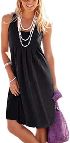 cd84f8cba8a6 Traleubie Women's Casual Summer Tank Long Sleeve/Sleeveless Knee Length  Pleated Sun Dresses