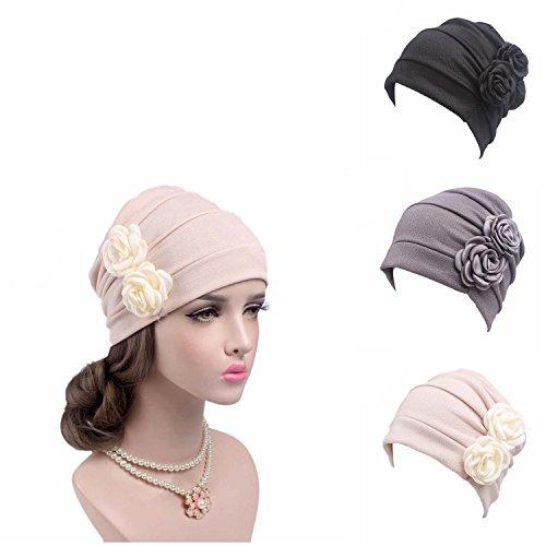 Print Spandex Hat - Ever Fairy 3 Colors Chemo Cancer Head Scarf Hat Cap Ethnic Cloth Print Turban Headwear Women Stretch Flower Muslim headscarf (3 Colors Back-H1)