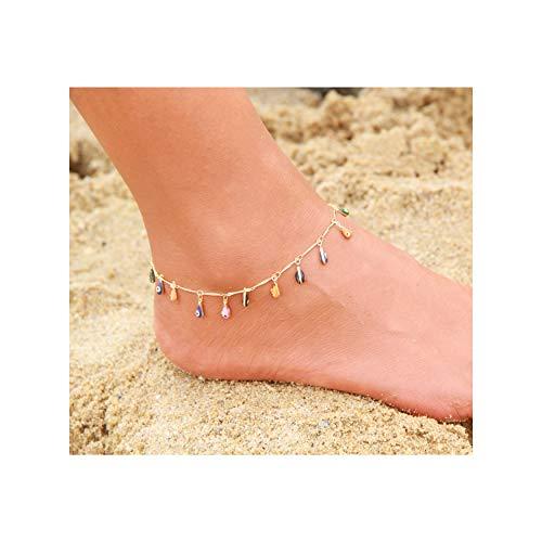 - Mevecco Gold Dainty Tassel Evil Eye Anklet,14K Gold Plated Cute Tiny Boho Beach Dangle Protection Evil Eye Multicolour Foot Chain Ankle Bracelet for Women and Teen Girls