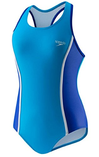 Speedo Big Girls One Piece Sporty Back Swimsuit -Blue (6)